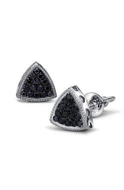 Серьги пусеты троя серебро из родированного серебра 925-й пробы с куб. циркониями (2 4832 1)