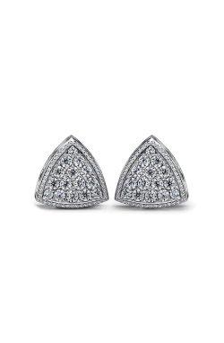 Серебряные серьги пусеты троя из родированного серебра 925-й пробы с куб. циркониями (2 483 )