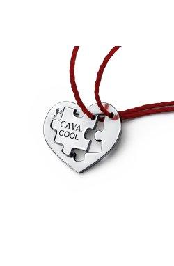 Парный кулон сердце пазл из серебра из родированного серебра 925-й пробы (31 66 )