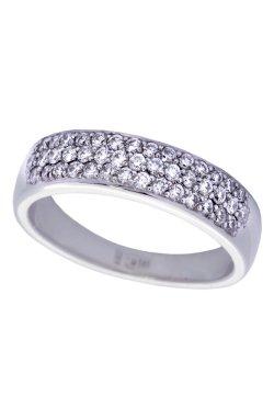 Изысканное кольцо с бриллиантами белое золото из белого золота 585-й пробы с бриллиантом (1503064)