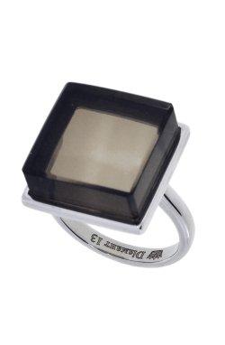 Кольцо с топазом антик белое золото из белого золота 585-й пробы с топазом (1409784)