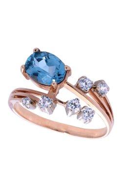 Вечернее кольцо с топазом из белого золота 585-й пробы из красного золота 585-й пробы с топазом куб. циркониями (1400093)