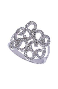 Ажурное кольцо белое золото из белого золота 585-й пробы с куб. циркониями (1 7 4)