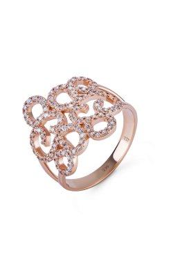Золотое ажурное кольцо из красного золота 585-й пробы с куб. циркониями (1 7 3)