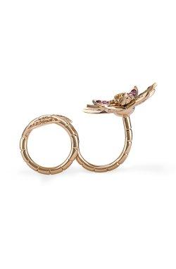 Золотое кольцо трансформер лилия из желтого золота 585-й пробы с бриллиантом рубином (329010)