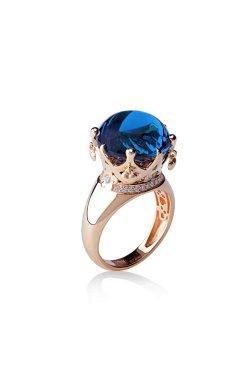 Золотое кольцо любовь из красного золота 585-й пробы с бриллиантом кварцем (1507 304)