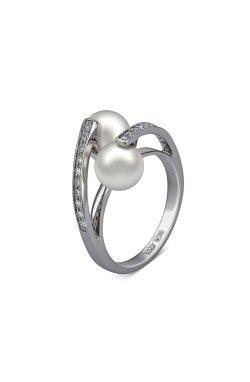 Золотое кольцо жемчужный поцелуй .5 из белого золота 585-й пробы с бриллиантом жемчугом (32923 1)