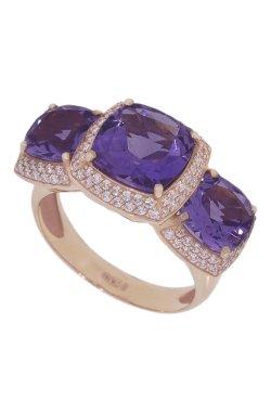 Золотое кольцо с аметистами из красного золота 585-й пробы с аметистом бриллиантом (329 6)