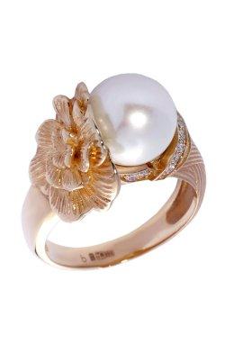 Праздничное золотое кольцо с бриллиантами и жемчугом из желтого золота 585-й пробы с бриллиантом жемчугом (329100)