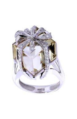 Кольцо подарок с бриллиантами .5 из белого золота 585-й пробы с бриллиантом цитрином (329147)
