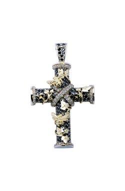 Эксклюзивный крест с черными бриллиантами из желтого золота 585-й пробы из белого золота 585-й пробы с бриллиантом (329110)