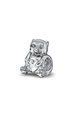 Серебряная бусина шарм медвеженок с сердечком small из родированного серебра 925-й пробы (31 95 )