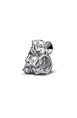 Серебряный шарм бусина слон small из родированного серебра 925-й пробы (31 76 )