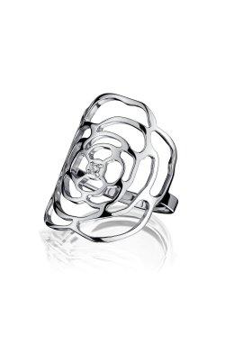 Кольцо камелия с фианитом серебро из родированного серебра 925-й пробы с куб. циркониями (12 3 2)