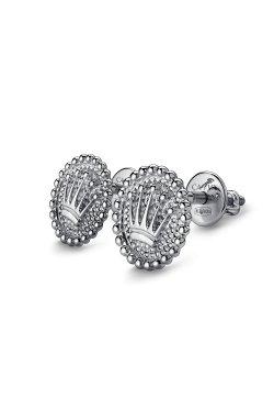 Серьги пусеты с короной из серебра из родированного серебра 925-й пробы ( 86 )