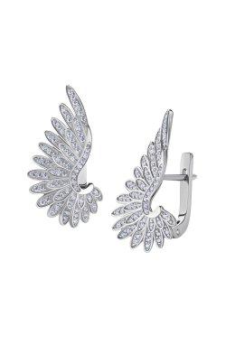 Серебряные серьги крылья с фианитами из родированного серебра 925-й пробы с куб. циркониями ( 00 )
