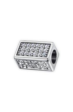 Серебряный шарм подвеска красота симметрии из родированного серебра 925-й пробы с куб. циркониями (32 89 )