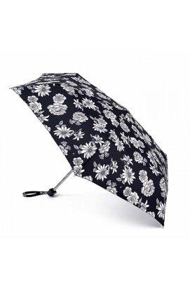 Зонт женский Fulton L340 Miniflat-2 Black and White Floral (Черно-белые цветы)