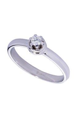 Золотое кольцо на помолвку с фианитом из белого золота 585-й пробы с куб. циркониями (1 0304)