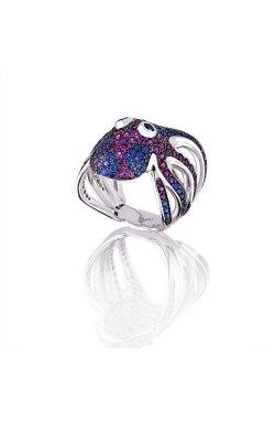 Золотое кольцо осьминог из белого золота 585-й пробы с рубином (32923137)