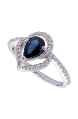 Золотое кольцо сапфировая капля из белого золота 585-й пробы с бриллиантом (1503284)