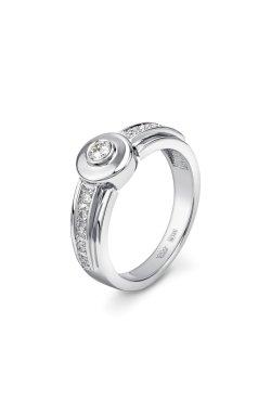 Кольцо брилиантовая дорожка белое золото из белого золота 585-й пробы с бриллиантом (1500404)