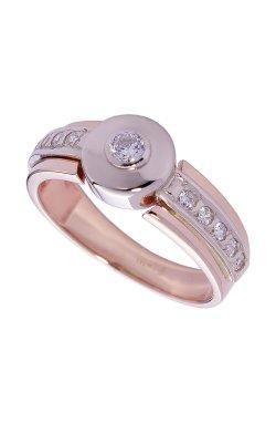 Золотое кольцо брилимнтовая дорожка из белого золота 585-й пробы из красного золота 585-й пробы с бриллиантом (1500403)