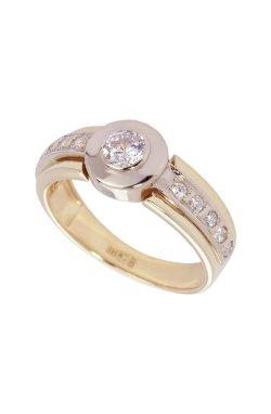 Золотое кольцо дорожка с фианитами из желтого золота 585-й пробы из белого золота 585-й пробы с куб. циркониями (1 0392)