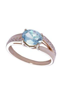 Золотое кольцо с топазом из красного золота 585-й пробы с топазом куб. циркониями (1400353)