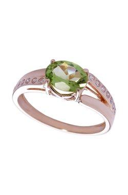Золотое кольцо с хризолитом из красного золота 585-й пробы (140035301)