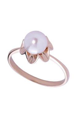 Золотое кольцо волна с жемчугом из красного золота 585-й пробы с жемчугом (1300343)