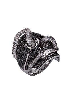 Золотой перстень череп .5 из белого золота 585-й пробы с бриллиантом (32923132)