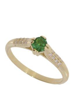 Золотое кольцо с изумрудом из желтого золота 585-й пробы с бриллиантом (32914105)