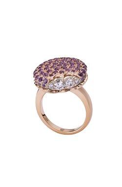 Золотое кольцо печенько .5 из красного золота 585-й пробы с аметистом бриллиантом (329049)