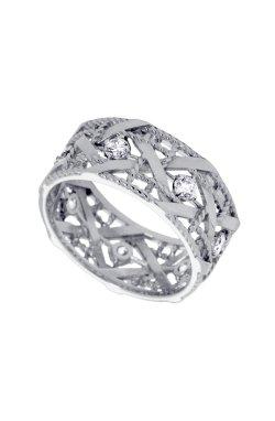 Золотое обручальное кольцо фантазия из белого золота 585-й пробы с куб. циркониями (1 8114)
