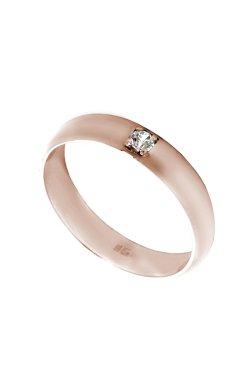 Золотое обручальное кольцо с фианитом из красного золота 585-й пробы с куб. циркониями (1 8873)