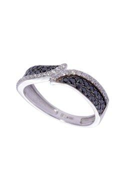 Кольцо золотая бриллиантовая волна из белого золота 585-й пробы с бриллиантом (150458401)