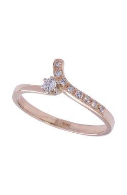 Золотое кольцо с бриллиантами ветка из красного золота 585-й пробы с топазом бриллиантом (1503143)