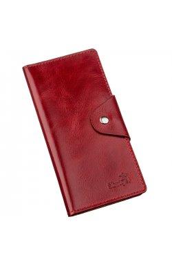 Бумажник женский вертикальный из кожи алькор на кнопках SHVIGEL 16172 Красный Красный