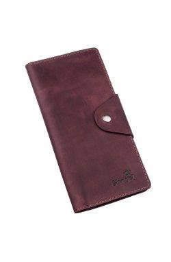 Бумажник женский вертикальный из винтажной кожи на кнопках SHVIGEL 16178 Бордовый