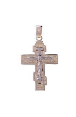 Золотой крестик кулон распятие из желтого золота 585-й пробы из белого золота 585-й пробы (310 43)