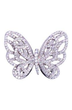 Золотой ажурная бабочка из белого золота 585-й пробы с куб. циркониями (3 7574)