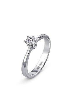 Золотое кольцо с бриллиантом выращенным страсть из белого золота 585-й пробы (111494)