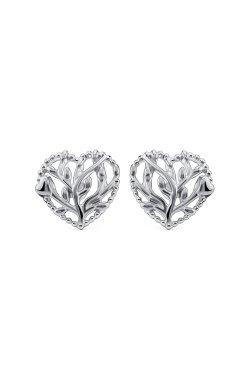 Серебряные серьги сердце леса из родированного серебра 925-й пробы ( 1479 )