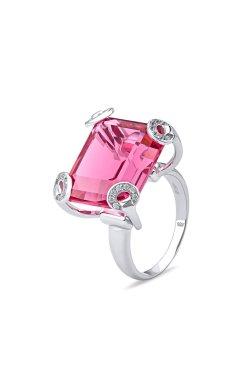 Золотое кольцо с розовым кварцем из белого золота 585-й пробы (1 8644)
