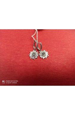 Серьги подсолнухи серебро с черными фианитами из родированного серебра 925-й пробы (2 77 2)