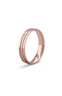 Золотое обручальное кольцо магия любви из красного золота 585-й пробы с бриллиантом (151396301)