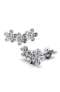 Серебряные серьги цветочное настроение из родированного серебра 925-й пробы ( 00 )