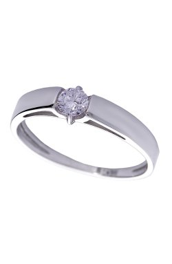 Золотое кольцо мелодия с бриллиантом из белого золота 585-й пробы (1506484)