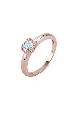 Золотое кольцо с бриллиантом dream из красного золота 585-й пробы с бриллиантом (1506433)